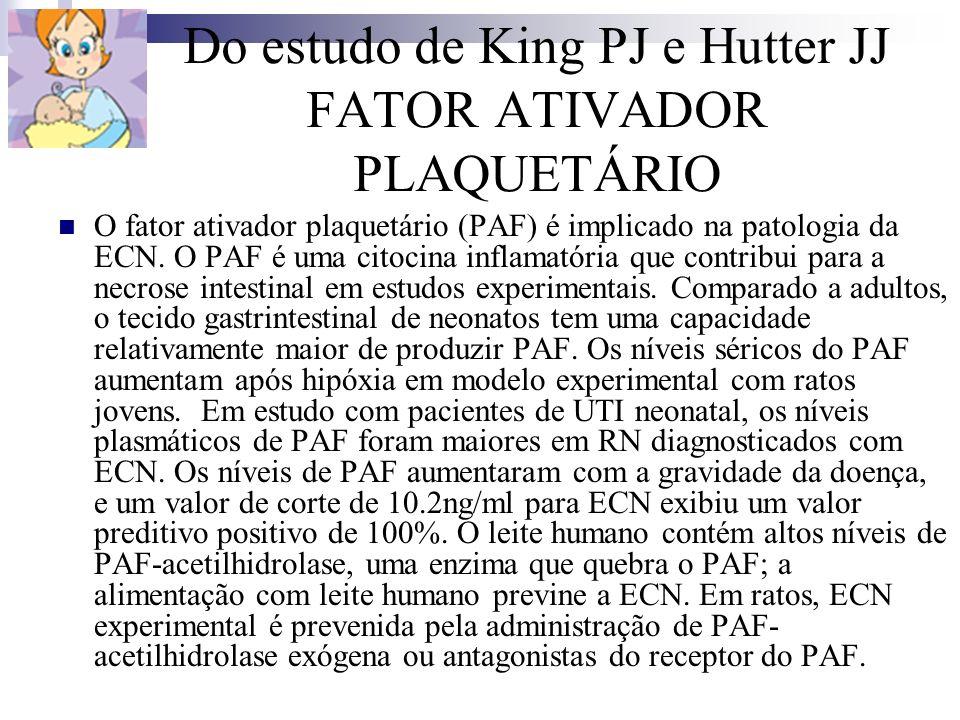 Do estudo de King PJ e Hutter JJ FATOR ATIVADOR PLAQUETÁRIO