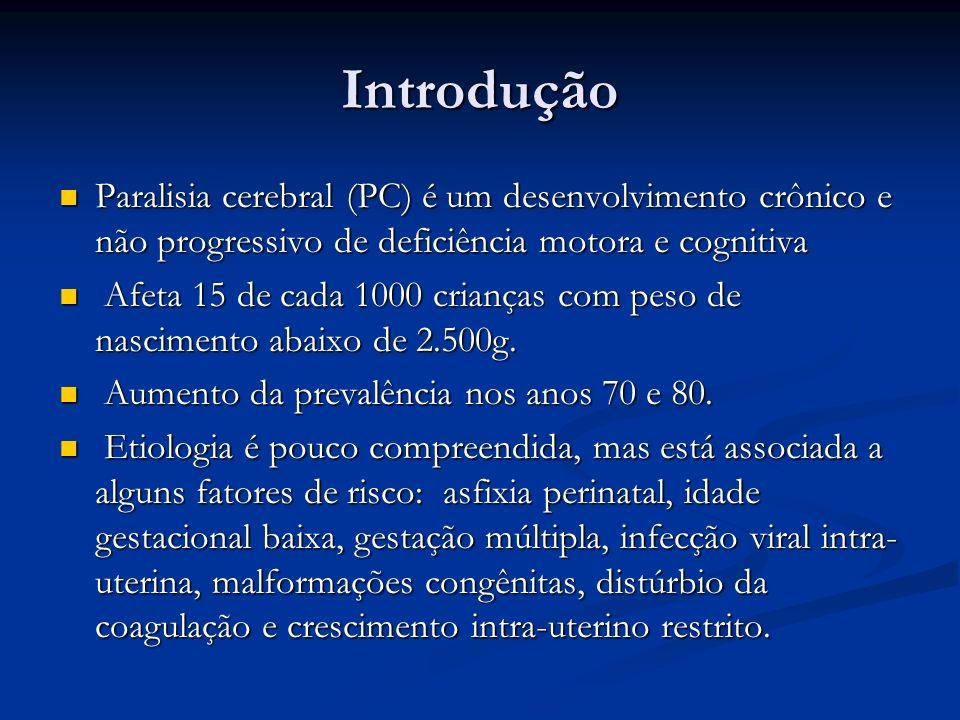 Introdução Paralisia cerebral (PC) é um desenvolvimento crônico e não progressivo de deficiência motora e cognitiva.