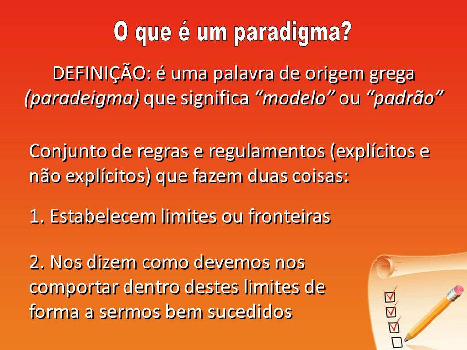 O que é um paradigma DEFINIÇÃO: é uma palavra de origem grega (paradeigma) que significa modelo ou padrão