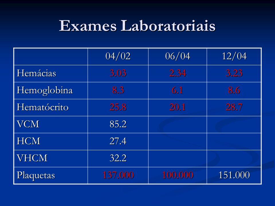 Exames Laboratoriais 04/02 06/04 12/04 Hemácias 3.03 2.34 3.23