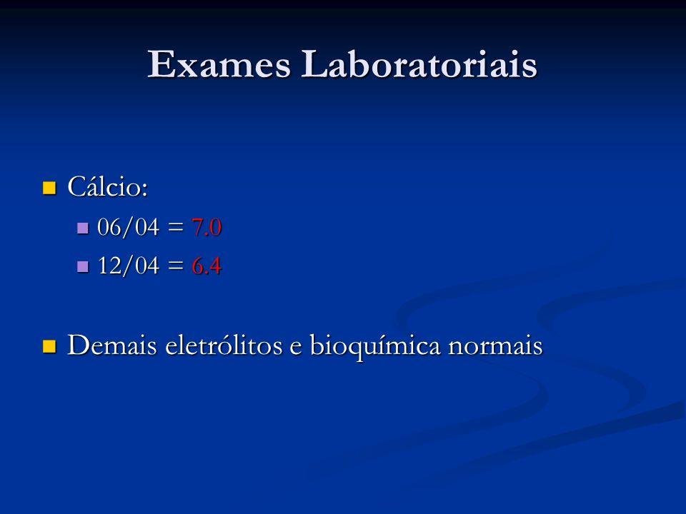 Exames Laboratoriais Cálcio: Demais eletrólitos e bioquímica normais