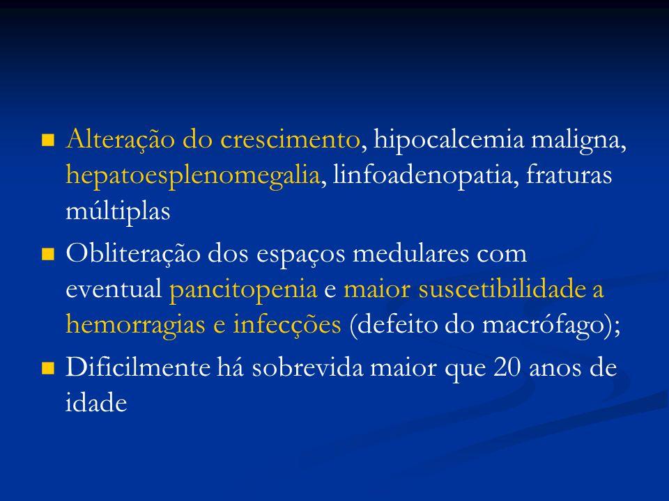 Alteração do crescimento, hipocalcemia maligna, hepatoesplenomegalia, linfoadenopatia, fraturas múltiplas