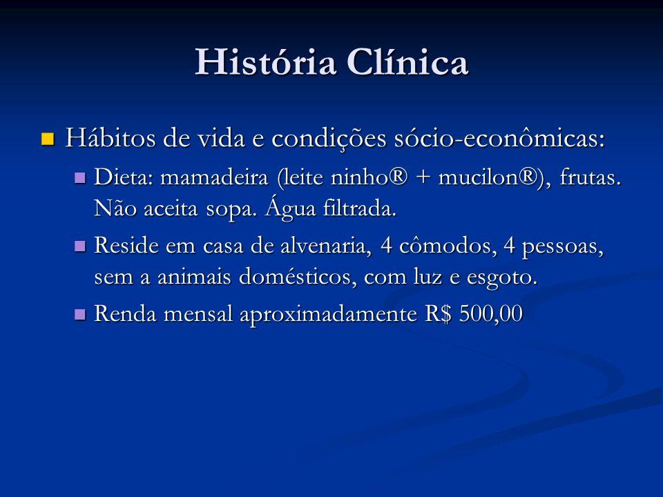 História Clínica Hábitos de vida e condições sócio-econômicas: