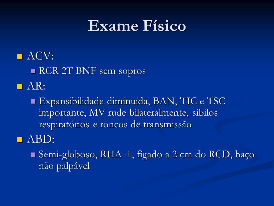 Exame Físico ACV: AR: ABD: RCR 2T BNF sem sopros