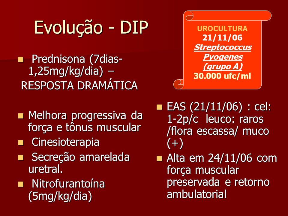 Evolução - DIP Prednisona (7dias- 1,25mg/kg/dia) –