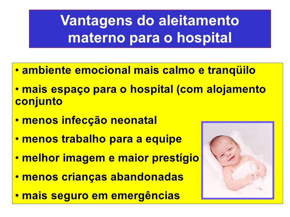 Vantagens do aleitamento materno para o hospital