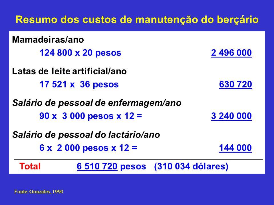 Resumo dos custos de manutenção do berçário