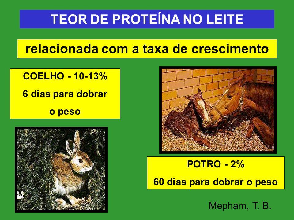 TEOR DE PROTEÍNA NO LEITE relacionada com a taxa de crescimento