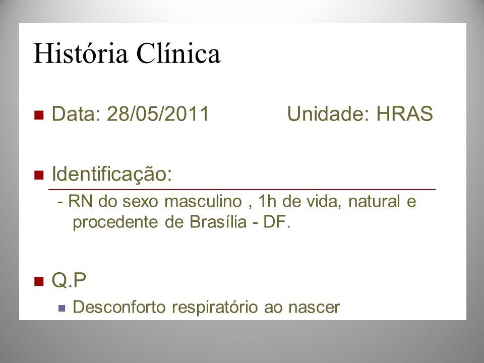 História Clínica Data: 28/05/2011 Unidade: HRAS Identificação: Q.P