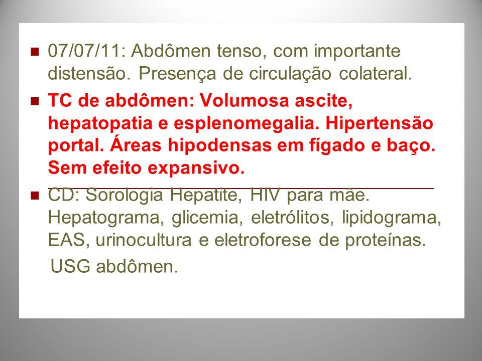 07/07/11: Abdômen tenso, com importante distensão