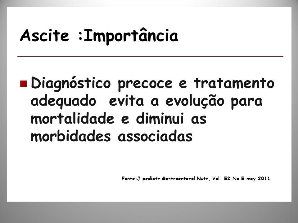 Ascite :Importância Diagnóstico precoce e tratamento adequado evita a evolução para mortalidade e diminui as morbidades associadas.
