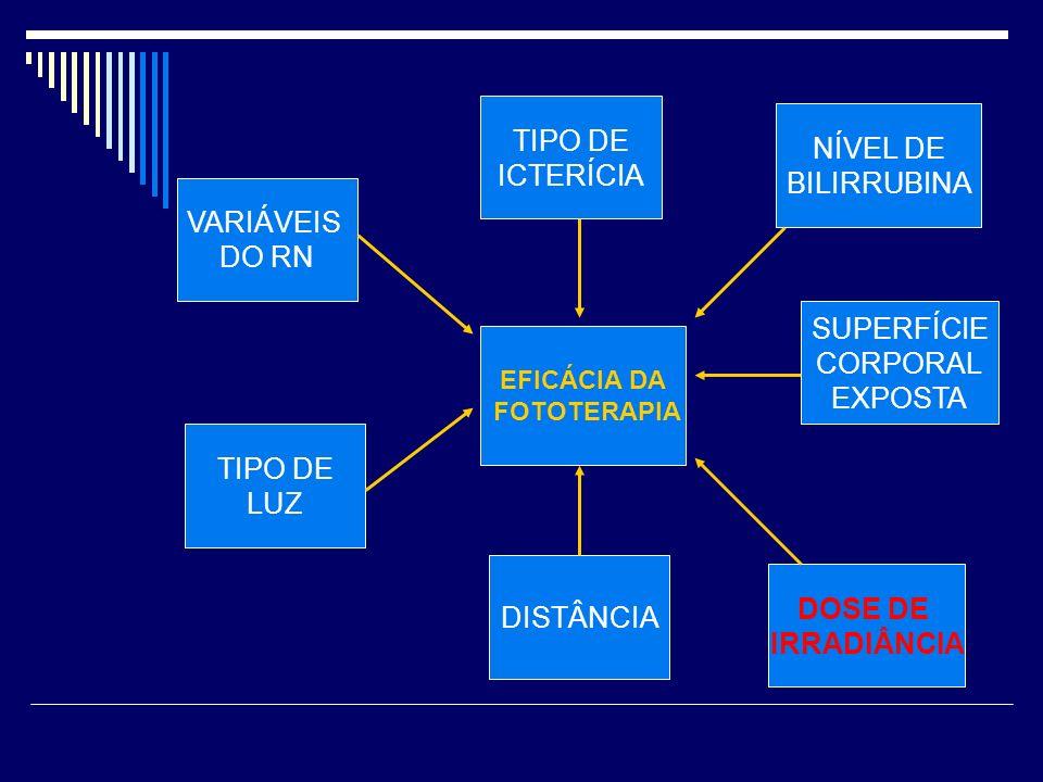 TIPO DE ICTERÍCIA NÍVEL DE BILIRRUBINA VARIÁVEIS DO RN SUPERFÍCIE
