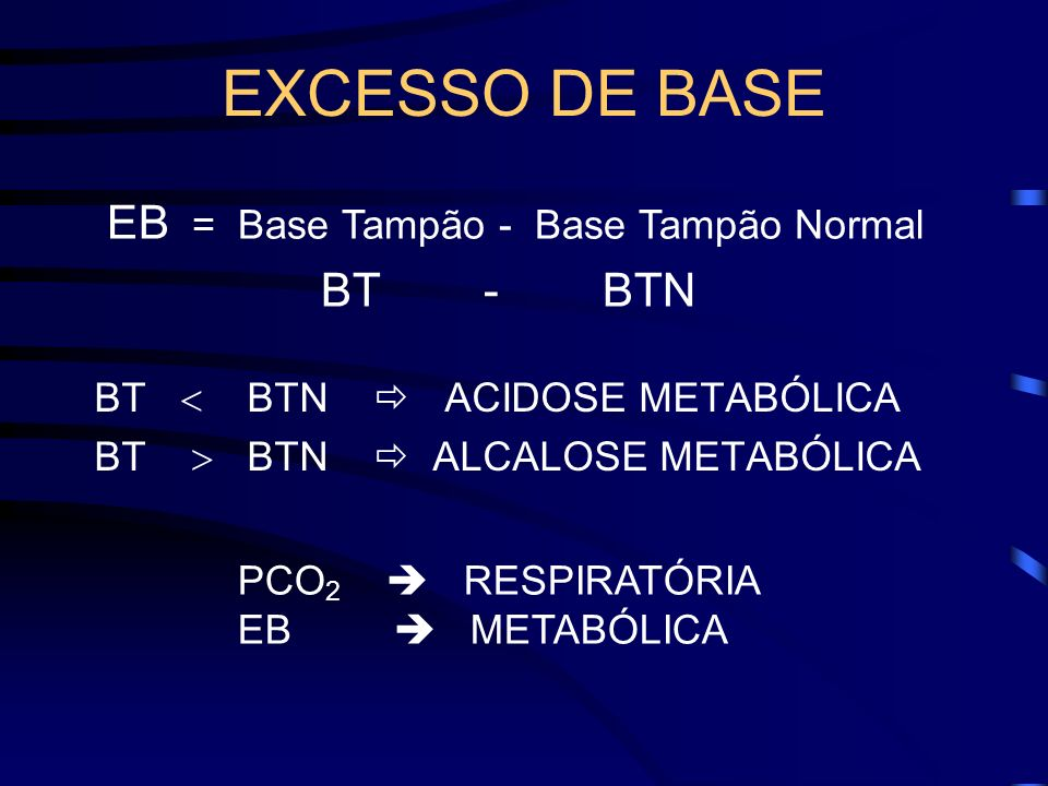 EXCESSO DE BASE EB = Base Tampão - Base Tampão Normal BT - BTN