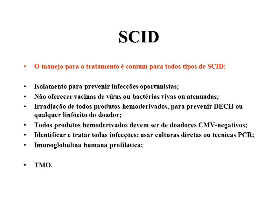 SCID O manejo para o tratamento é comum para todos tipos de SCID:
