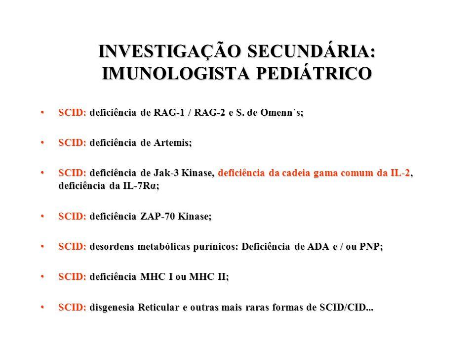 INVESTIGAÇÃO SECUNDÁRIA: IMUNOLOGISTA PEDIÁTRICO
