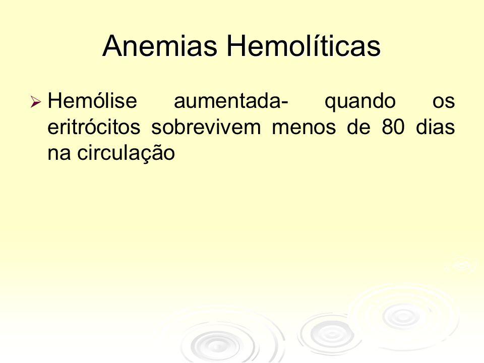 Anemias Hemolíticas Hemólise aumentada- quando os eritrócitos sobrevivem menos de 80 dias na circulação.