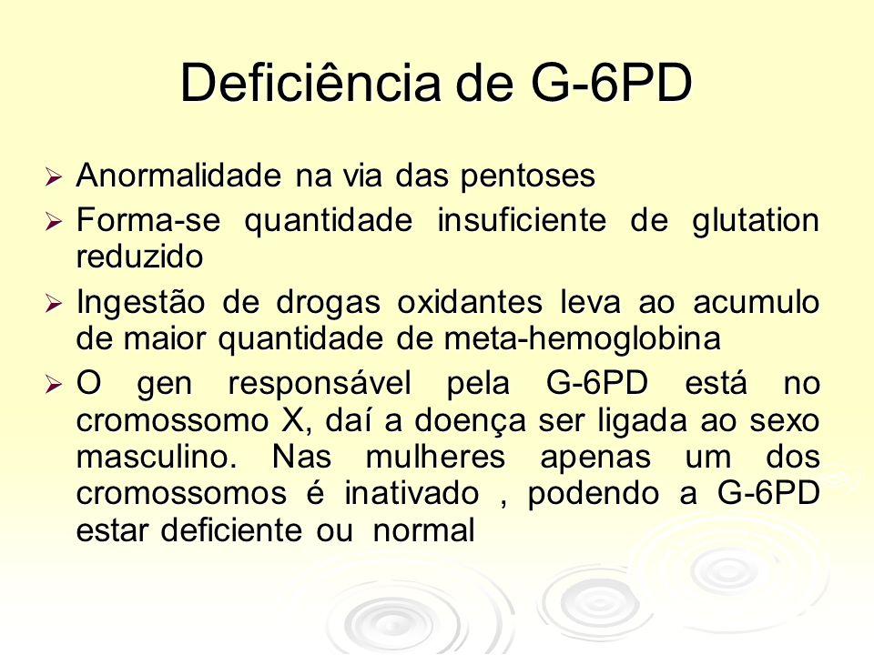 Deficiência de G-6PD Anormalidade na via das pentoses