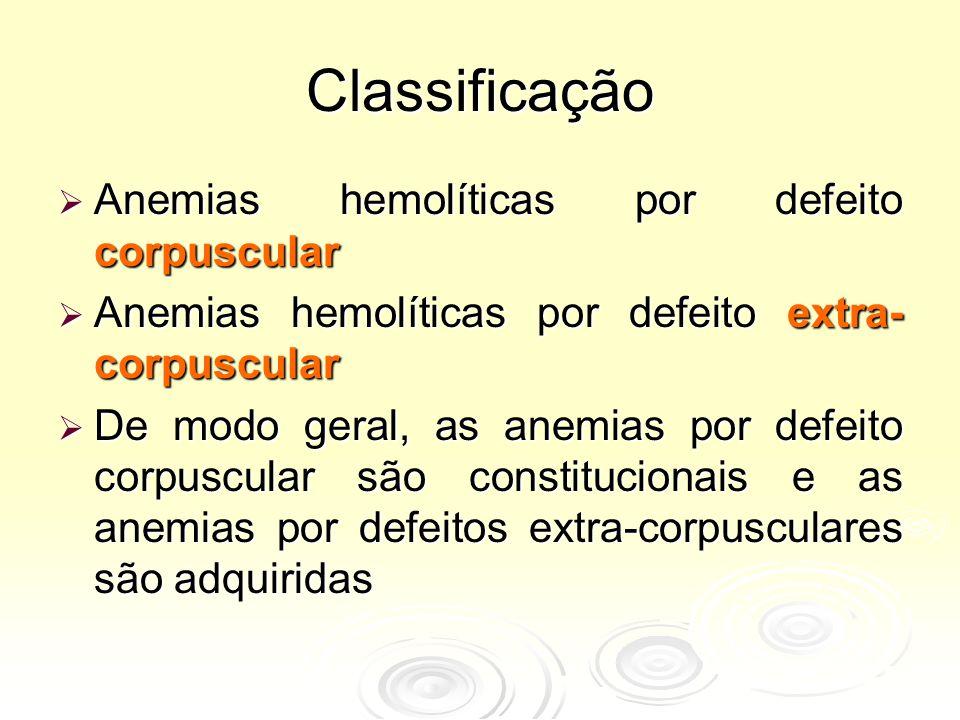 Classificação Anemias hemolíticas por defeito corpuscular