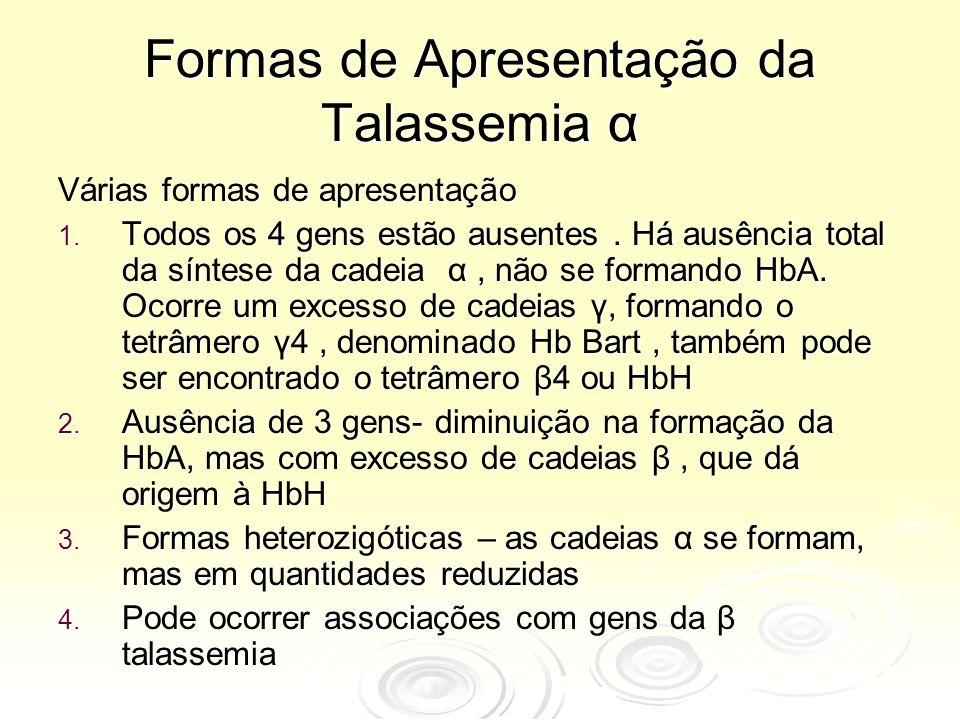 Formas de Apresentação da Talassemia α