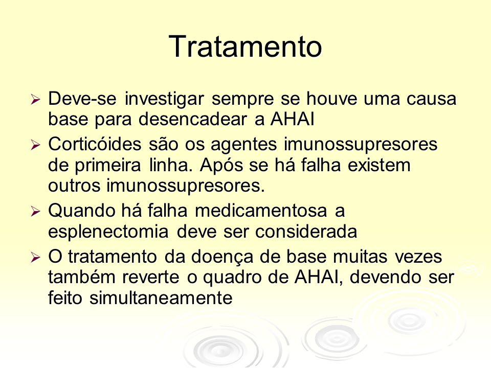 Tratamento Deve-se investigar sempre se houve uma causa base para desencadear a AHAI.