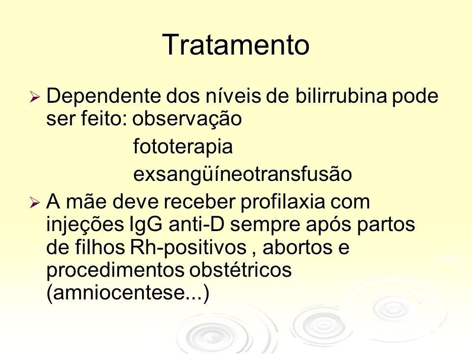 Tratamento Dependente dos níveis de bilirrubina pode ser feito: observação. fototerapia. exsangüíneotransfusão.