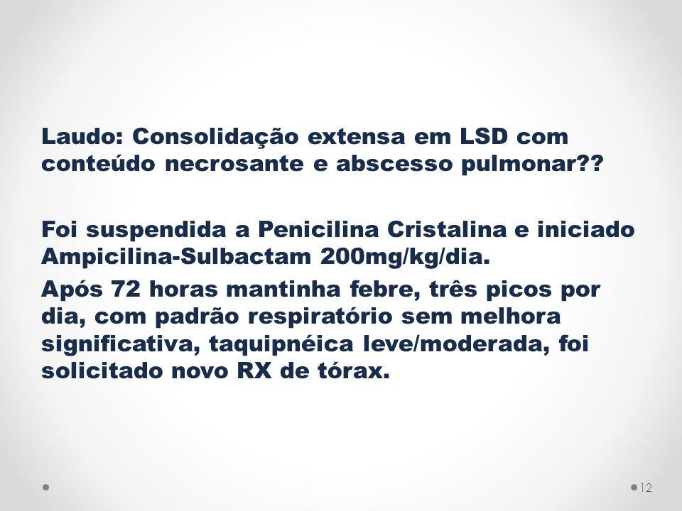 Laudo: Consolidação extensa em LSD com conteúdo necrosante e abscesso pulmonar .