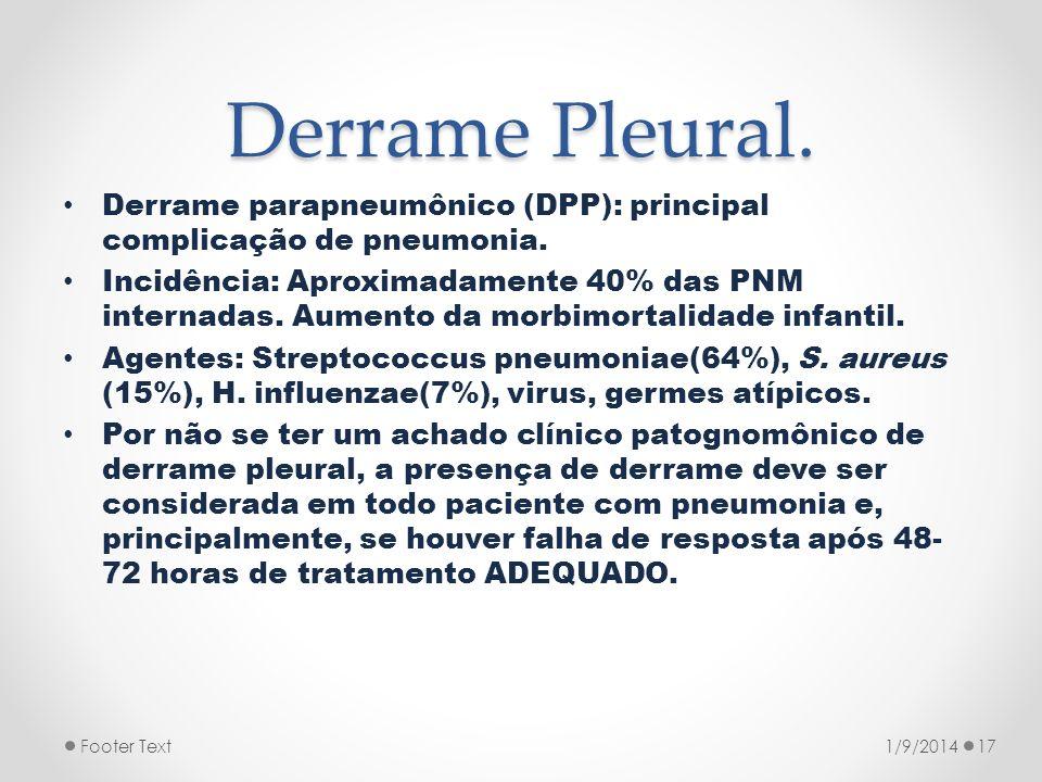 Derrame Pleural. Derrame parapneumônico (DPP): principal complicação de pneumonia.