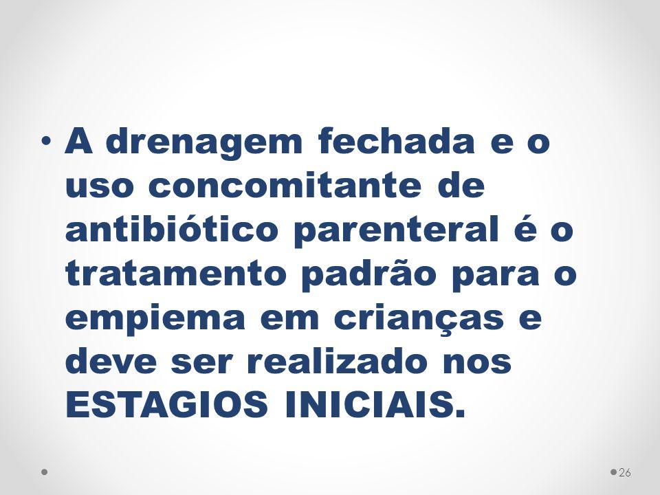 A drenagem fechada e o uso concomitante de antibiótico parenteral é o tratamento padrão para o empiema em crianças e deve ser realizado nos ESTAGIOS INICIAIS.