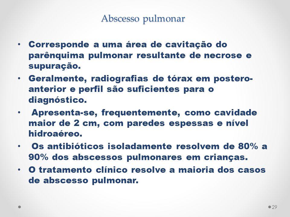 Abscesso pulmonar Corresponde a uma área de cavitação do parênquima pulmonar resultante de necrose e supuração.