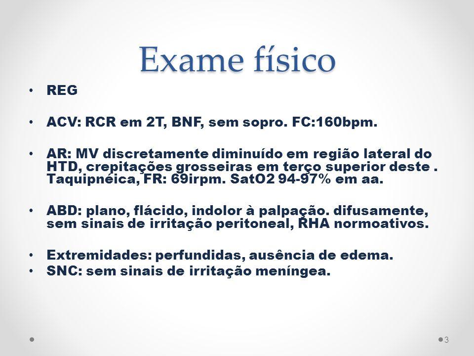 Exame físico REG ACV: RCR em 2T, BNF, sem sopro. FC:160bpm.