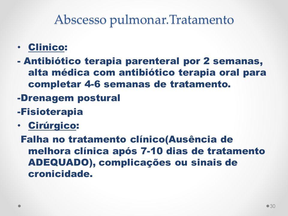 Abscesso pulmonar.Tratamento