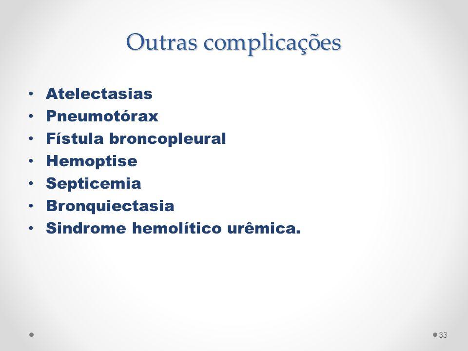 Outras complicações Atelectasias Pneumotórax Fístula broncopleural
