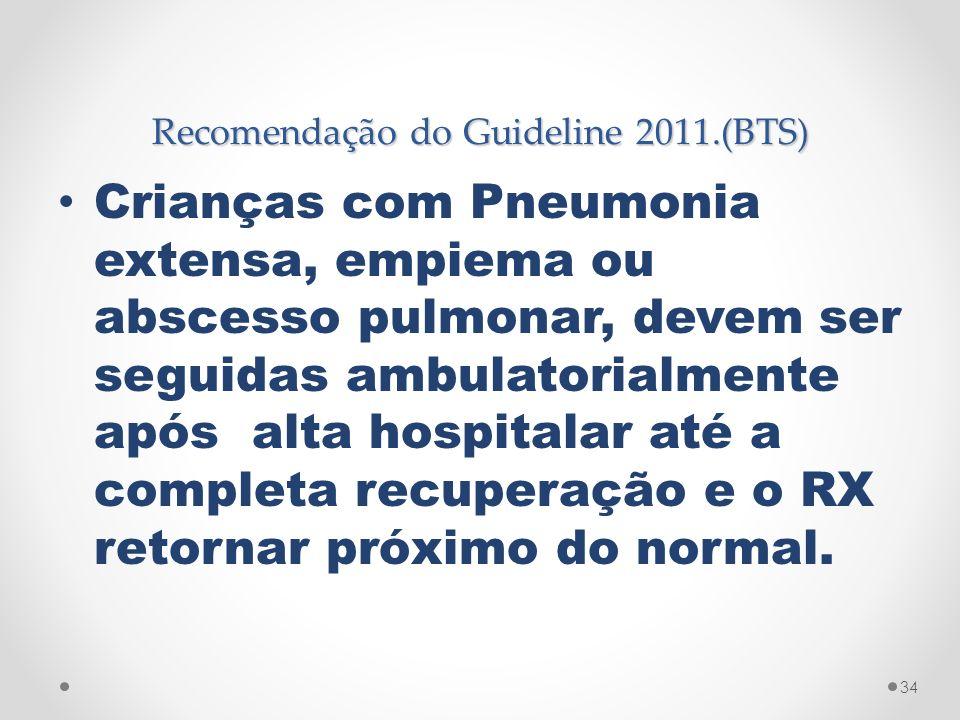 Recomendação do Guideline 2011.(BTS)