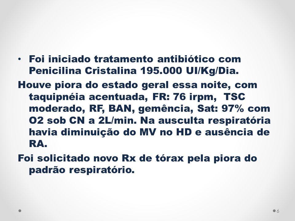 Foi iniciado tratamento antibiótico com Penicilina Cristalina 195