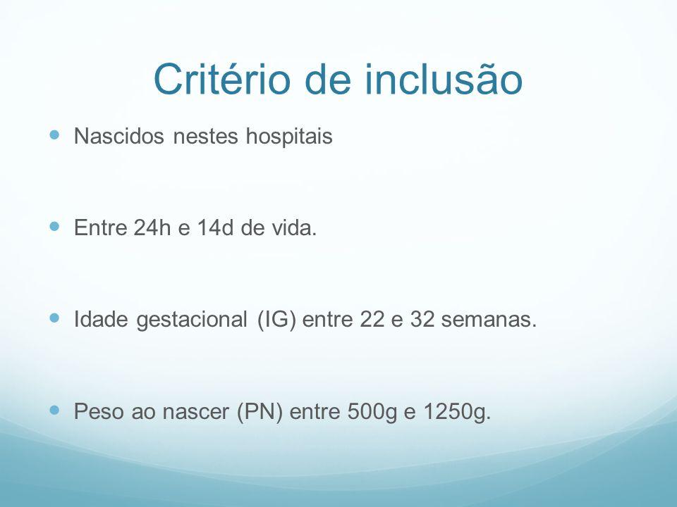 Critério de inclusão Nascidos nestes hospitais