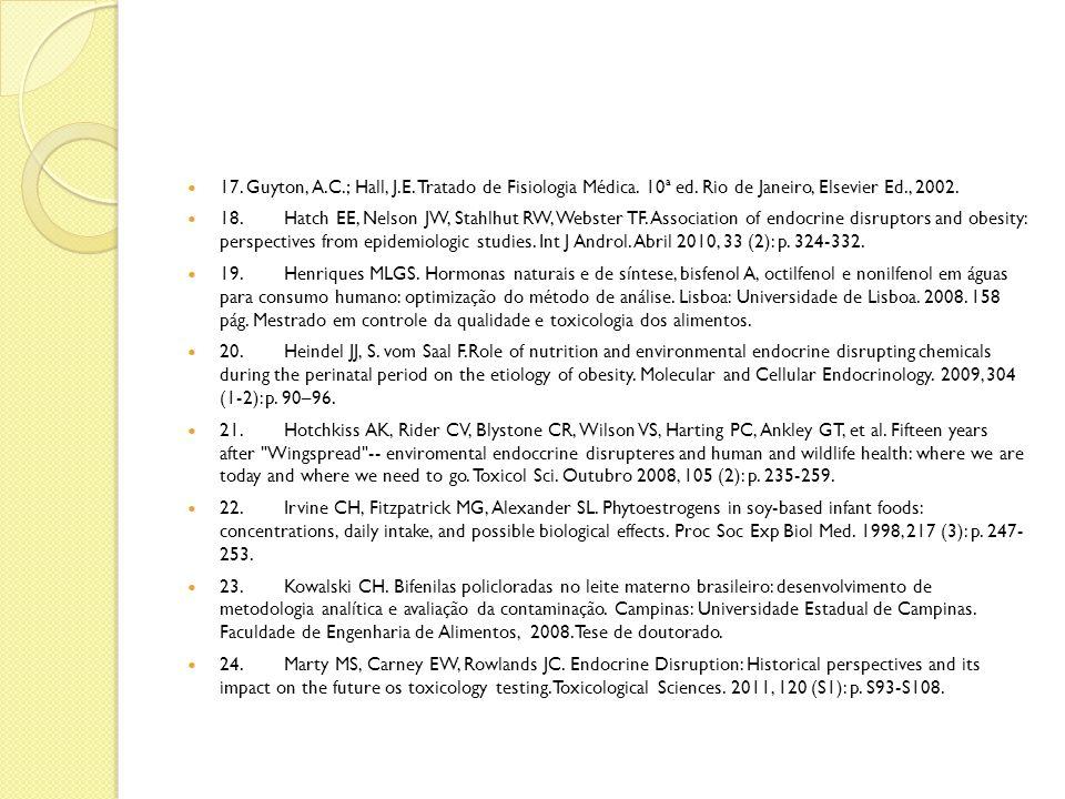 17. Guyton, A. C. ; Hall, J. E. Tratado de Fisiologia Médica. 10ª ed