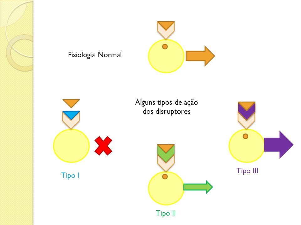 Fisiologia Normal Alguns tipos de ação dos disruptores Tipo III Tipo I Tipo II