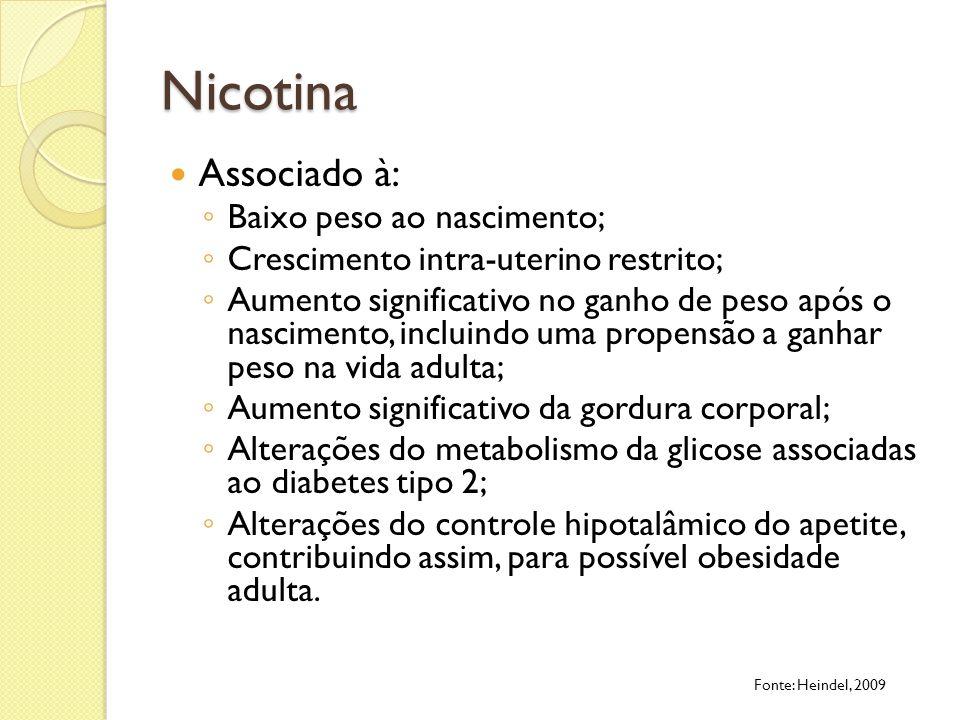 Nicotina Associado à: Baixo peso ao nascimento;