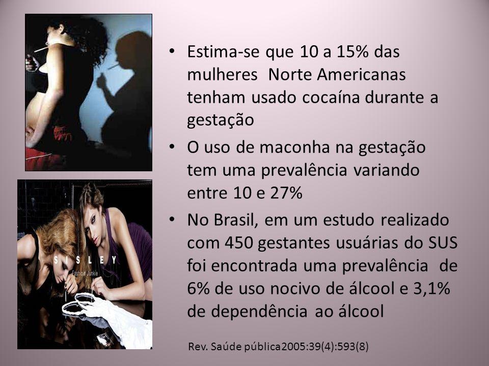 Estima-se que 10 a 15% das mulheres Norte Americanas tenham usado cocaína durante a gestação