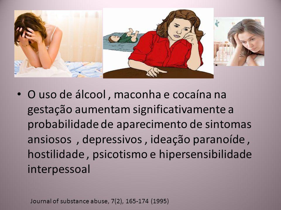 O uso de álcool , maconha e cocaína na gestação aumentam significativamente a probabilidade de aparecimento de sintomas ansiosos , depressivos , ideação paranoíde , hostilidade , psicotismo e hipersensibilidade interpessoal