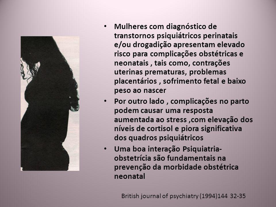 Mulheres com diagnóstico de transtornos psiquiátricos perinatais e/ou drogadição apresentam elevado risco para complicações obstétricas e neonatais , tais como, contrações uterinas prematuras, problemas placentários , sofrimento fetal e baixo peso ao nascer