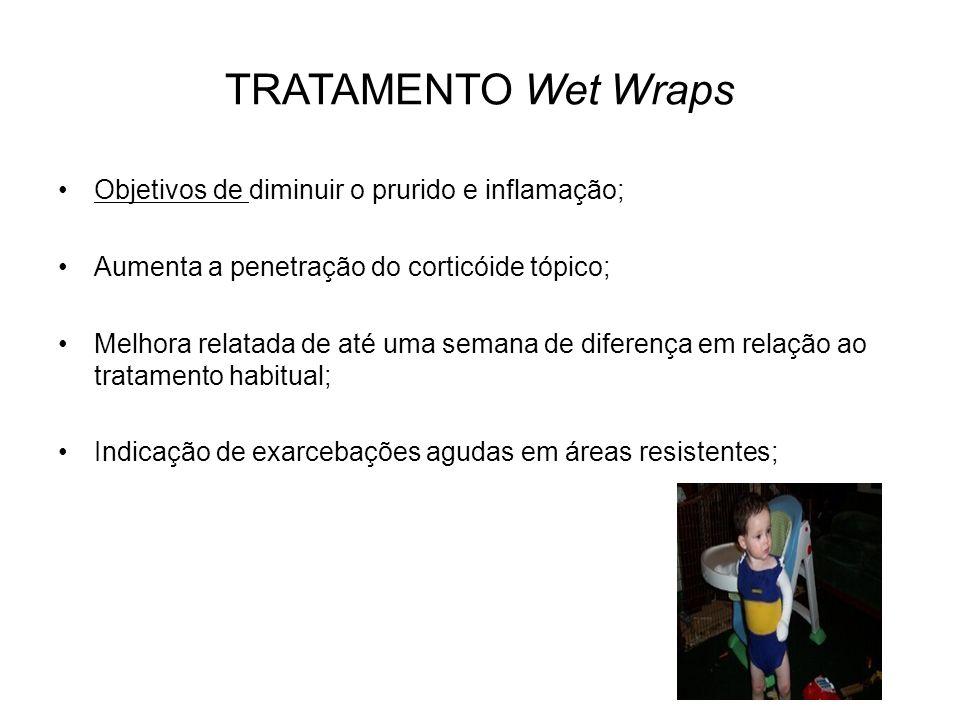 TRATAMENTO Wet Wraps Objetivos de diminuir o prurido e inflamação;