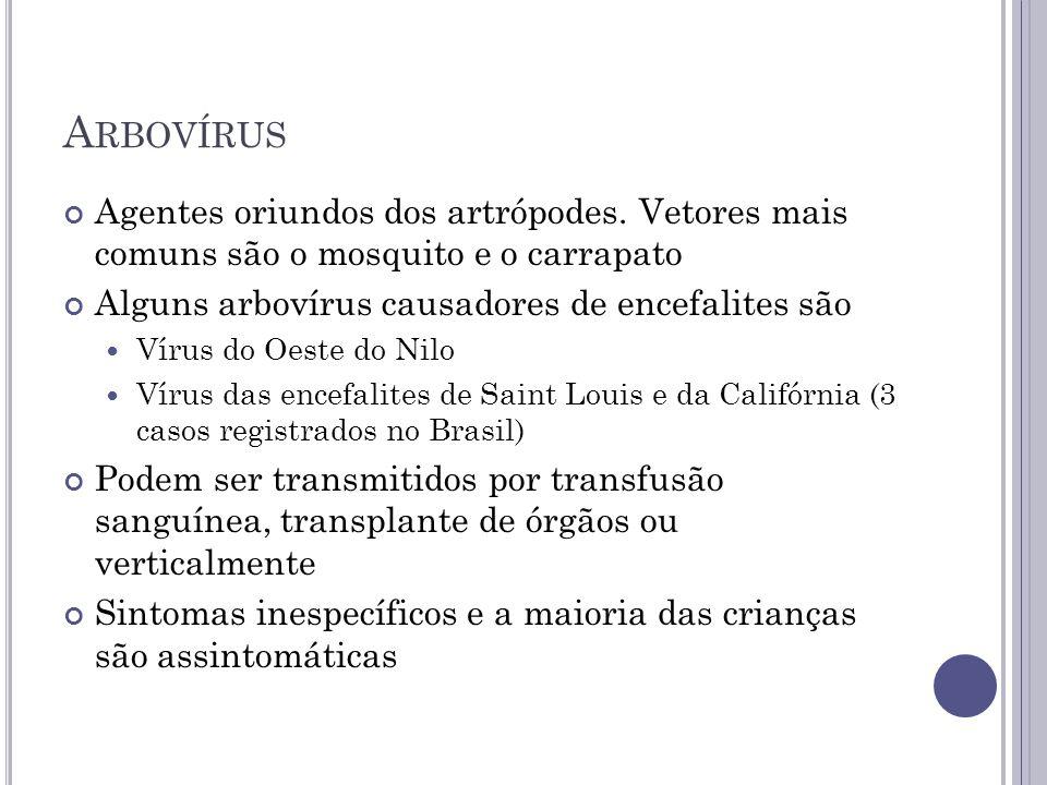Arbovírus Agentes oriundos dos artrópodes. Vetores mais comuns são o mosquito e o carrapato. Alguns arbovírus causadores de encefalites são.