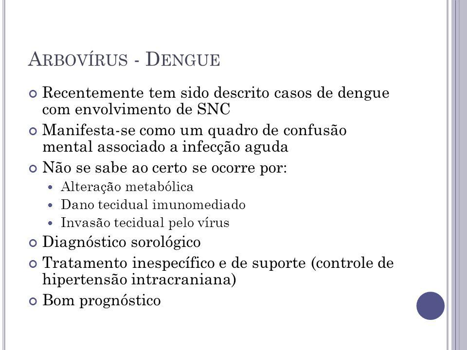 Arbovírus - Dengue Recentemente tem sido descrito casos de dengue com envolvimento de SNC.