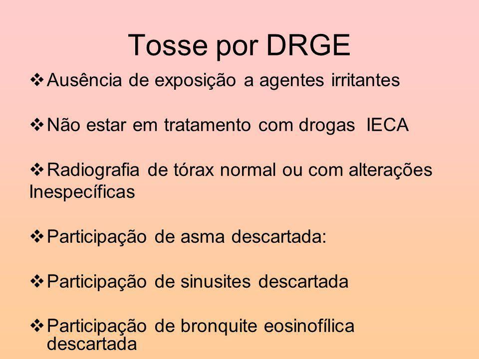 Tosse por DRGE Ausência de exposição a agentes irritantes