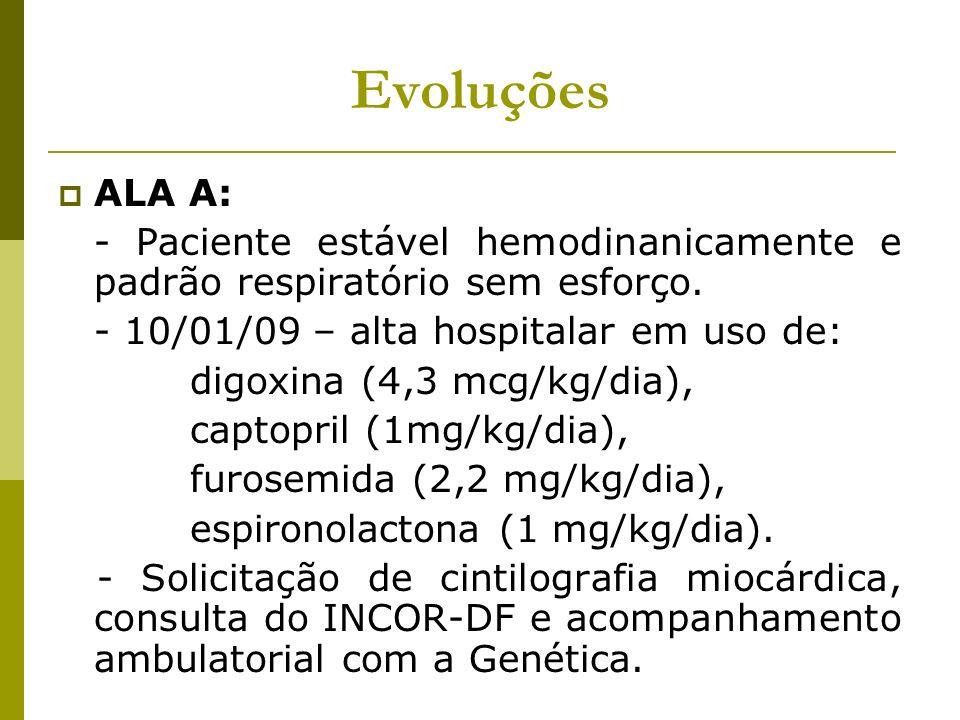 Evoluções ALA A: - Paciente estável hemodinanicamente e padrão respiratório sem esforço. - 10/01/09 – alta hospitalar em uso de:
