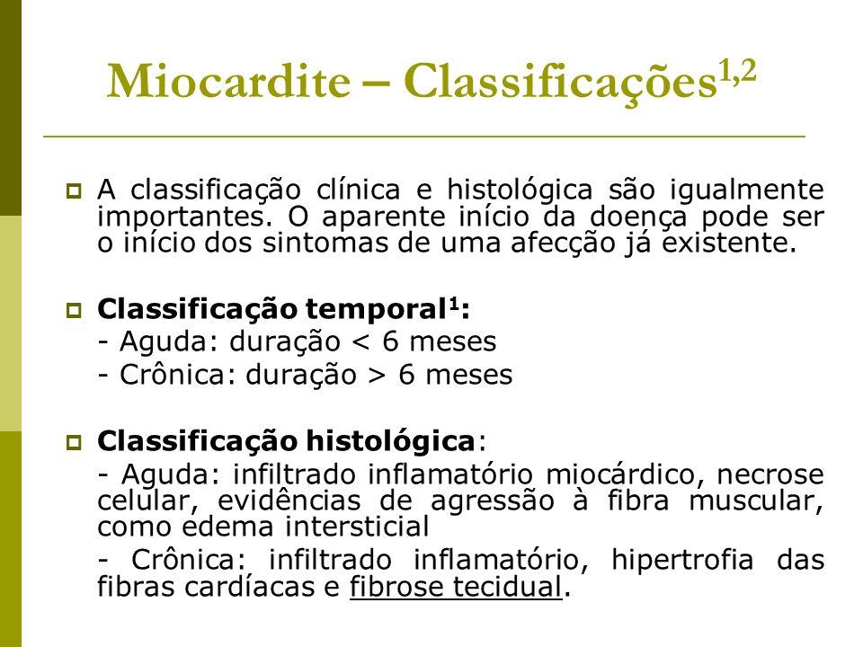 Miocardite – Classificações1,2