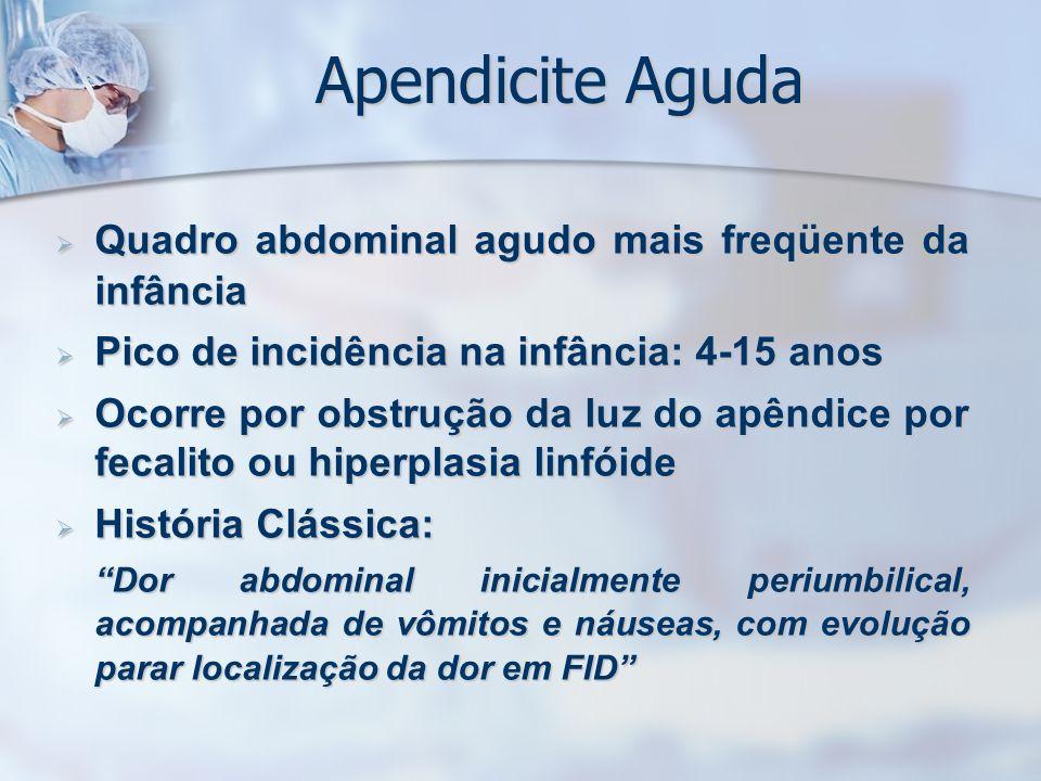 Apendicite Aguda Quadro abdominal agudo mais freqüente da infância