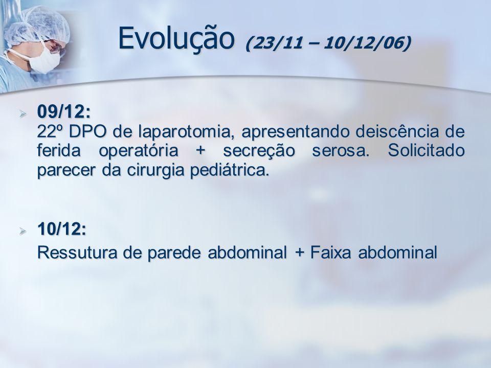 Evolução (23/11 – 10/12/06) 09/12: