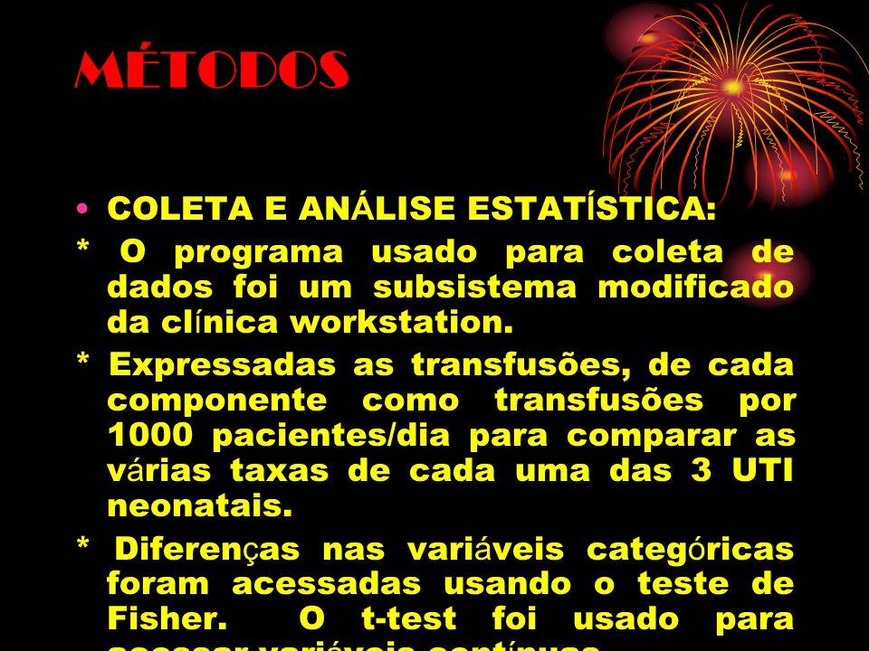 MÉTODOS COLETA E ANÁLISE ESTATÍSTICA: